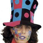Hut Zylinder schwarz/blau/pink Punkte